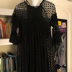 Black sheer baby doll polka dot H&M dress
